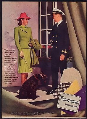 1941 KERRY BLUE TERRIER Forstmann Fashion Vintage Print Photo AD US Navy Officer
