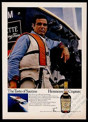 1970 Don Aronow photo with racing power boat powerboat Hennessy Cognac print ad