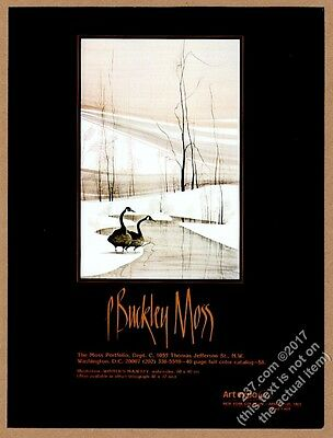 1972 P. Buckley Moss Winter's Majesty goose geese art vintage print ad