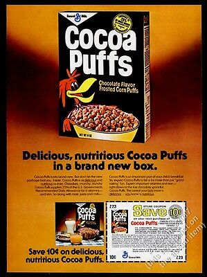 1976 Cocoa Puffs cereal box photo and coupon vintage print ad