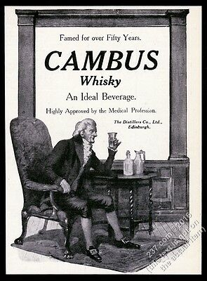 1910 Cambus Scotch Whisky highly approved by the medical profession UK print ad