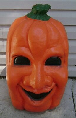 "Vintage Halloween Jolly Pumpkin Blow Mold Light Works 27"" Used Nice"