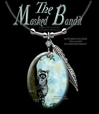 "Masked Bandit Raccoon Necklace - Western Wildlife Art Jewelry 24"" Lth  #blu"