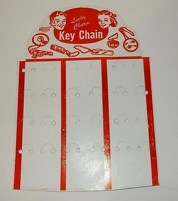 Vintage 1940s 50s Keychain Store Counter  Cardboard Display Stand Nice Graphics