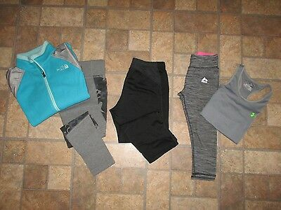 Lot of 5 girl's UNDER ARMOUR, NIKE, REEBOK, NORTH FACE athletic wear - MED