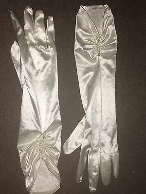 Ivory Satin Gloves Mid Arm Ruched Efect Pearl Detail Wedding Party Fancy Dress