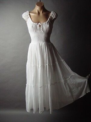 Victorian Medieval Peasant Boho Maiden Tier Chemise Gown Long Maxi 146 mv Dress