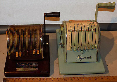 Rare Antique Vintage Lot Of 2 Paymaster Checkwriter Adding Machine Stamper Works
