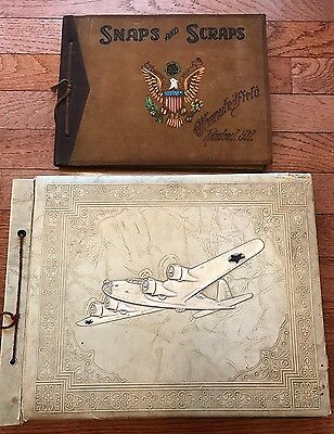 Orig WWII Era Photo Albums CHANUTE FIELD Airplane Group Aerial Photos Soldier ID