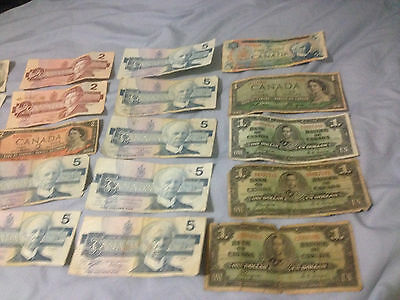 Canada Money Lot Over $86 face coins and paper money