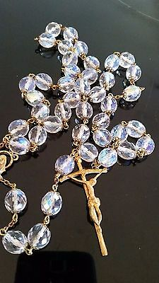 VINTAGE RETRO 60s ! FACETED AURORA BOREALIS CRYSTAL BEAD LARGE ROSARY
