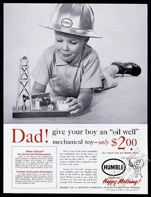 1961 Humble Oil boy with toy oil well pumpjack pump jack photo vintage print ad
