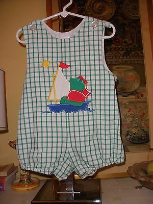 Vintage Kelly's Kids Green Checked Frog Applique Baby Toddler Bubble Romper 3T