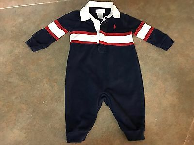 Baby Boys Ralph Lauren Long Sleeve Polo Bodysuit Navy & Red Size 3 Months