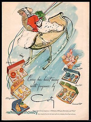 1945 COTY Vintage Perfume AD Lovely Romantic Eric Winter Sleigh Art
