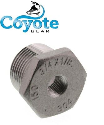 """304 SS 3/4"""" Male x 1/8"""" Female NPT Thread Hex Reducer Bushing Stainless Steel"""