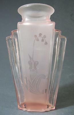 Vintage art deco style pink post-depression glass vase etched butterfly