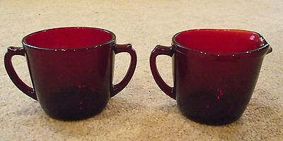 Anchor Hocking  Ruby Red  Cream Creamer And  Sugar Bowl  With Handles