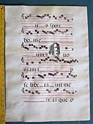 Gigantic Deco.Medieval Music Manuscript Leaf, on Vellum,ca.1480