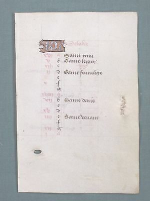 Fine Medieval Book of Hours Manuscript Leaf on Vellum,Calendar,October,ca.1485