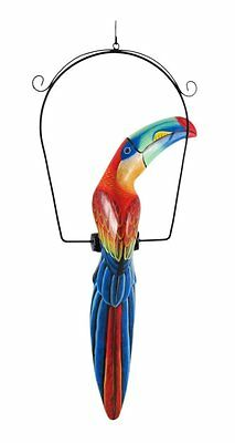 Lg Red Toucan Hanging Island African Jungle Wood Tropical Hand Carved Painted