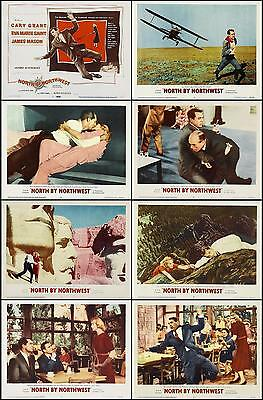 NORTH BY NORTHWEST  CARY GRANT COMPLETE SET OF 8 DIFF 11x14 LC PRINTS1959