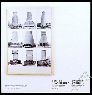 2001 Bernd & Hilla Becher cooling towers photo show NYC gallery vintage print ad