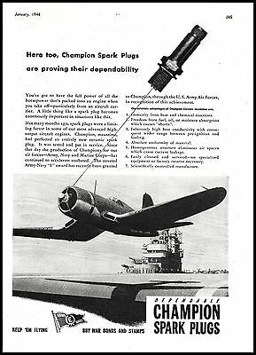 1944 WW II Vought F4U CORSAIR Takes off from Carrier Deck WWII WW2 Champion AD