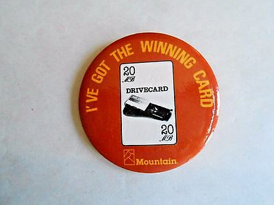 Vintage 1980s Mountain Computer 20 mb Drivecard Advertising Pinback Button