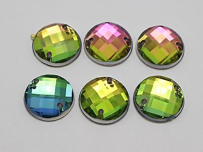 100 Rainbow AB Flatback Acrylic Faceted Round Rhinestone Button 14mm Sew on Bead