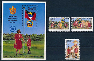 Antigua & Bar. 1991 MNH MS+3v, Scouting Scouts Baden Powell Camp Fire - T92