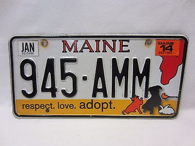 """Me~Maine Animal Adopt License Plate """"945-Amm"""" Very Good Condition"""