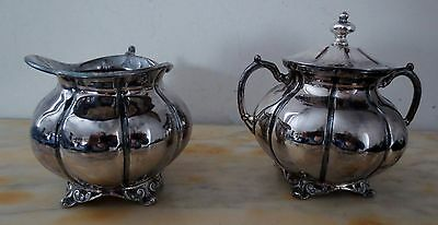 SET OF ANTIQUE STERLING SILVER SANBORNS SUGAR BOWL W/ LID & CREAMER - 444 Grams