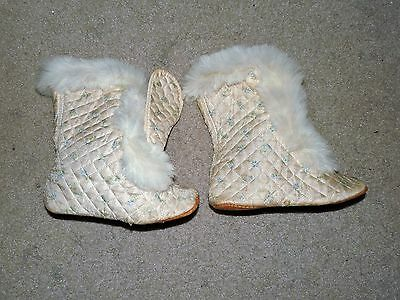 Vintage 1900's Baby Shoes Boots White Blue Used Rare Slip-Ons