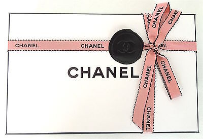 New Authentic Peach/orange And Black Chanel Ribbon 2 Meter
