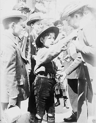 French boy scouts selling medals World War I 8x10 Photo