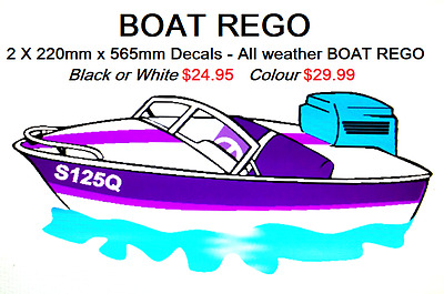 BOAT REGO 220mm high x 565mm wide set of 2 Decals - All weather - Great Quality