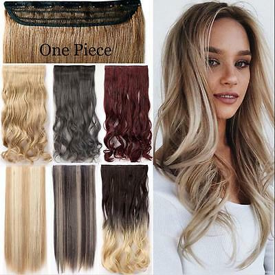 Natural One Piece Clip In Synthetic Full Head Hair Extension Brown Blonde Black
