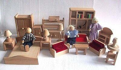 Elc Wooden Dolls House Furniture Bedroom And Lounge And 3 Wooden Figures Dolls