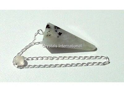 Natural Faceted Rainbow Moonstone Pendulum with Sterling Silver Chain