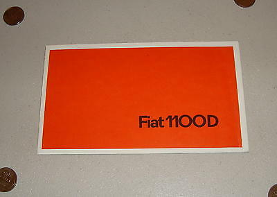 Vintage 1962-1966 Fiat 1100 D Fold-Out Sales Brochure Edition No. 1943 French