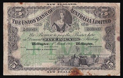 NEW ZEALAND Union Bank of Australia Ltd £5. Wellington 1-3-1905. P-S363b