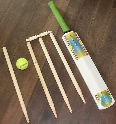 Kids Wooden Cricket Set CHEAP TOY Size 3 Bat Wickets Bail Tennis Ball Stumps NEW