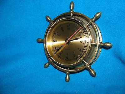 Clock Brass ships wheel wall mount cabin boat nautical quartz time sail helm