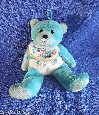 "*1705c*  GIFTED BEARS Skansen - Blue  ""Beautiful Grandson"" bear - plush"