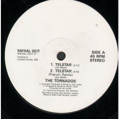 "TORNADOS Telstar 12"" VINYL UK Rayhal 3 Track Original B/W French Remix"