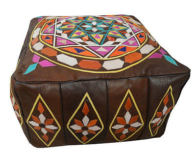Moroccan Brown Leather Square Pouf Pouffe Ottoman Hassock Footstool #MP48