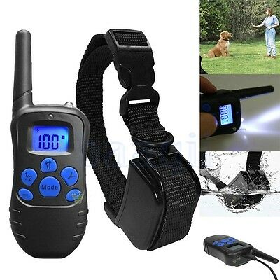Waterproof Rechargeable Remote LCD 100LV Electric Dog Training Shock Collar FA