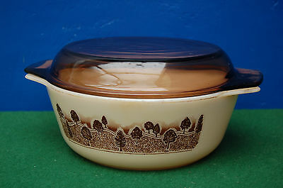Casserole  With Lid In Rare Rustic Design By Jaj Pyrex.