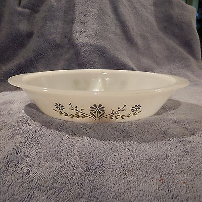 Divided Glasbake Ovenware Baking Oval Baking Dish With Green Flower Design